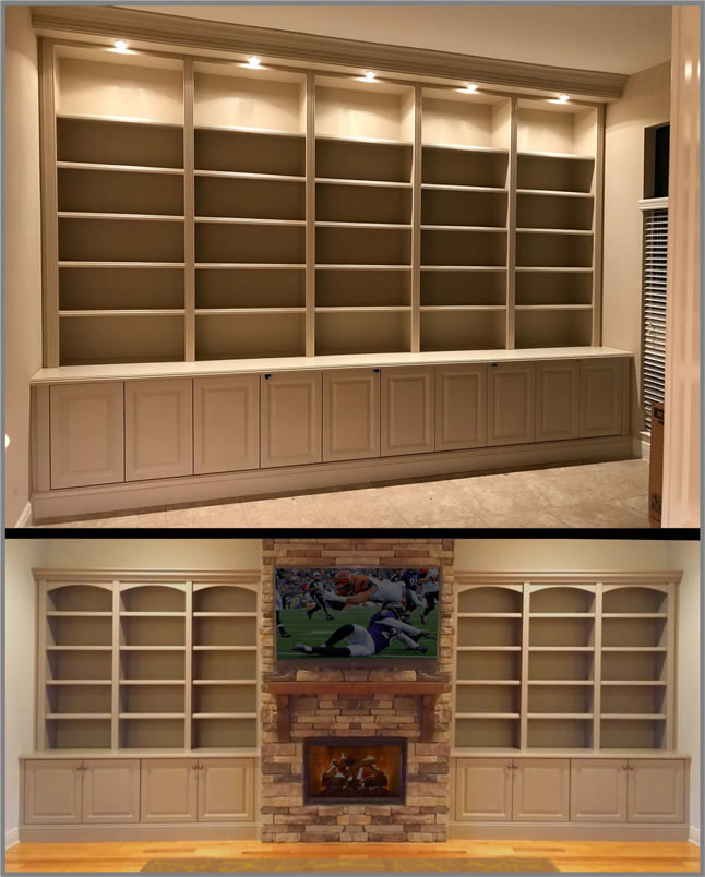 Matching bookcase and shelving