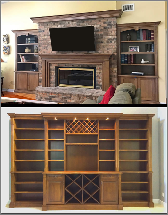 Fireplace mantle bookcase
